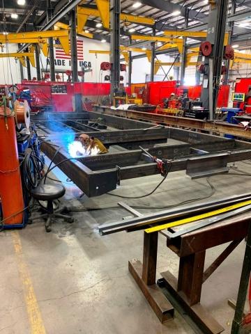 Large Metal Frame being Fabricated